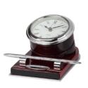 Wooden Block Metal Clock With Desk