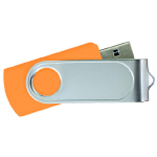USB Flash Drives Swivel with 1 Side Epoxy Logo - Orange