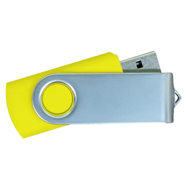USB Flash Drives Matt Silver Swivel - Yellow