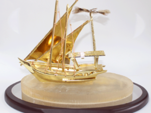 Plaque With Gold Boat