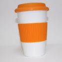 Ceramic Mug White Mug Orange Lid & Holder