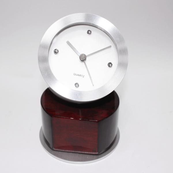 Rotated Wood & Metal Clock On Wood
