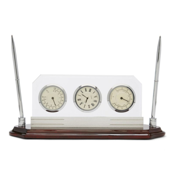 Wood With Metal Clock