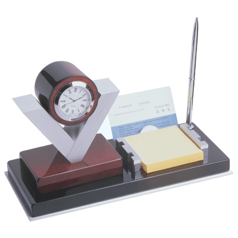 V Shape Wood And Metal Clock