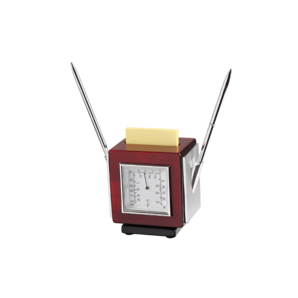 Rotated Square Shape Clock With Temp