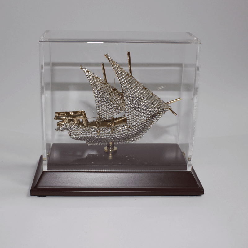 Brassboat Crystal In Acrylic Wood