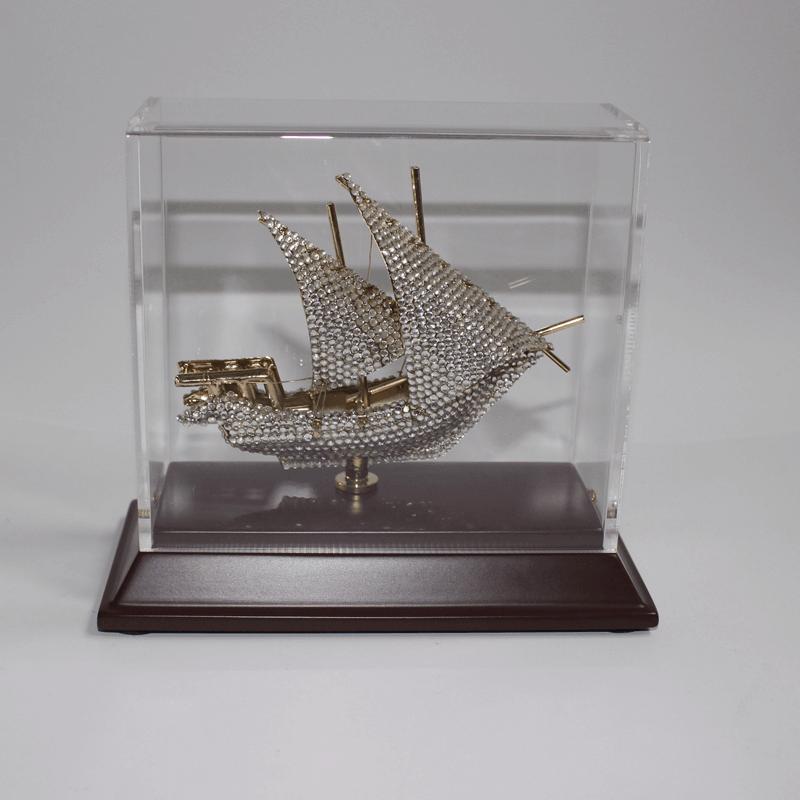 Brassboat Crystal In Acrylic Wood
