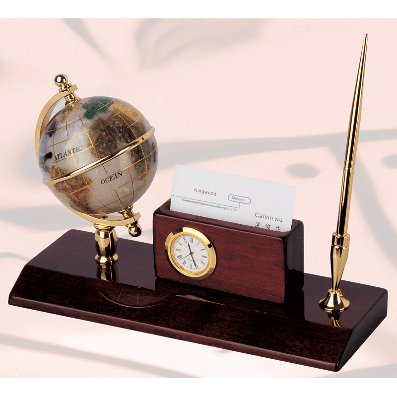 Wood Desk Gem Globe Stand With Card