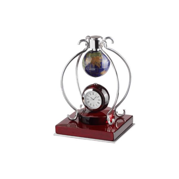 Desk Clock Set With Stone Globe