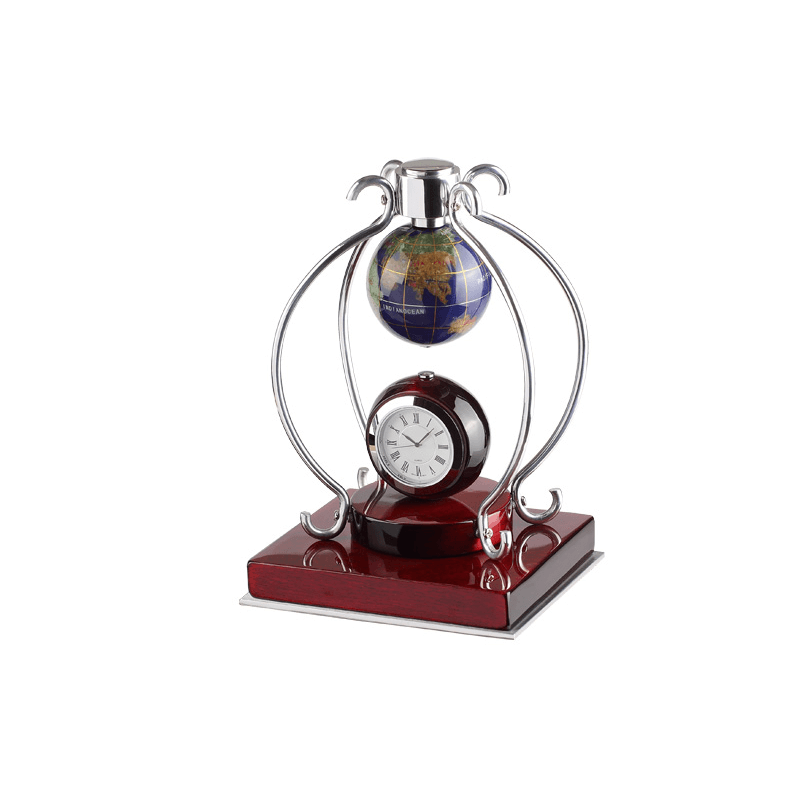 Desk Clock Set With Stone Globe