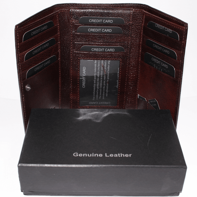 Leather Wallet Goat Glaze Brown With Box