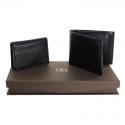 Pu Gents Wallet , Card Holder Set Black With Khaki Box