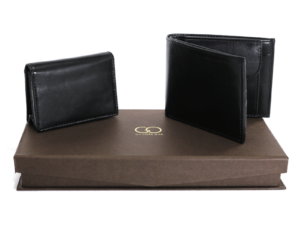 Pu Gents Wallet , Card Holder Set Black With Khaki Box