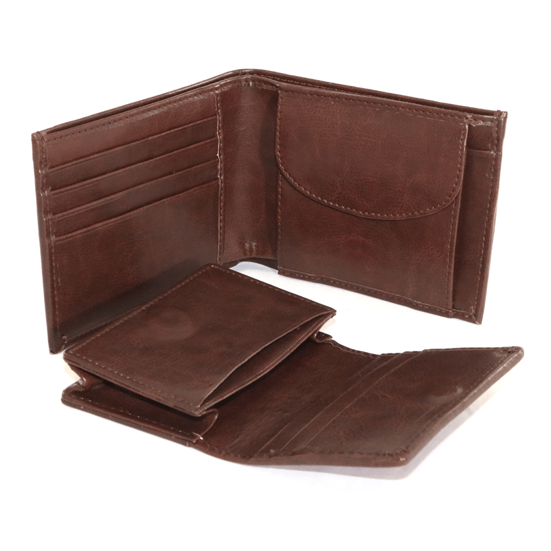 Pu Gents Wallet, Card Holder Set Brn With Khaki Box