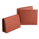 Pu Gents Wallet , Card Holder Set Tan With Khaki Box
