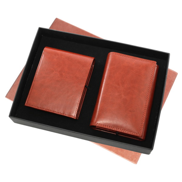 Pu Gents Wallet , Ladies Walletset Tan With Box