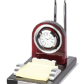 Wooden Desk Clock With Desk Set