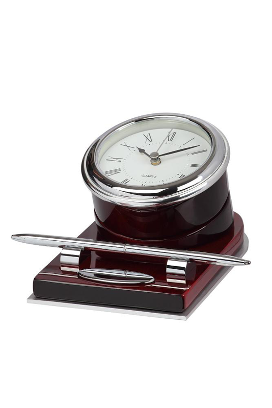 Wooden Block Metal Clock With Desk