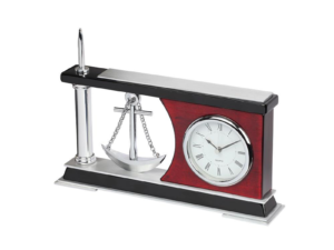 Wooden Block Metal Clock With Pen