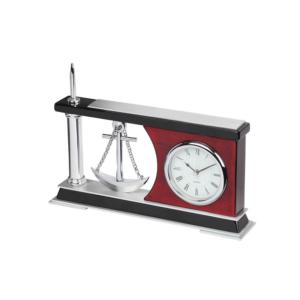 Wooden Block Metal Clock With Pen
