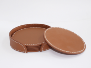 Leather Coaster Round Brown With Box Blk