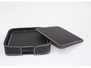 Leather Coaster Square Black With Box Blk