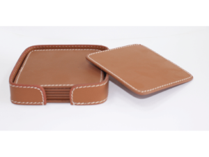 Leather Coaster Square Brown With Box Blk