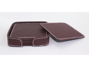 Leather Coaster Square Burgundy With Box