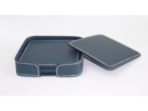 Leather Coaster Square Blue With Box Blk