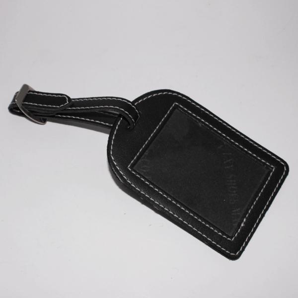 Leather Name Tag Black