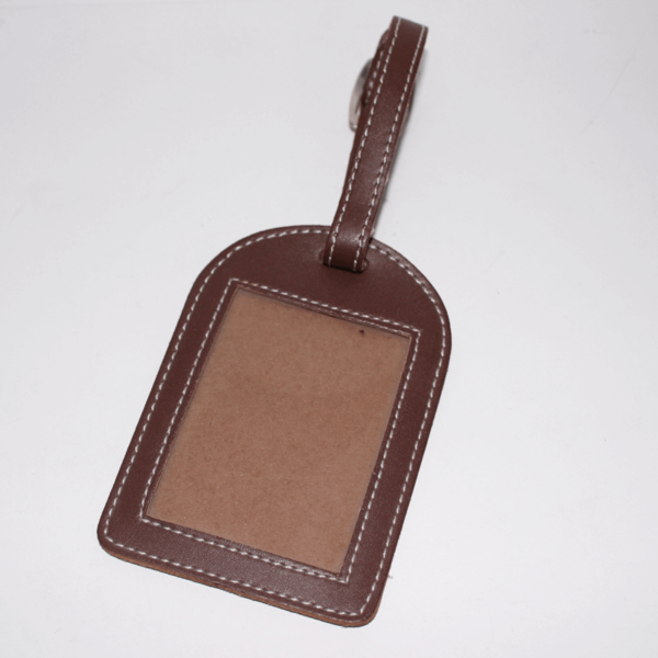 Leather Name Tag Brown