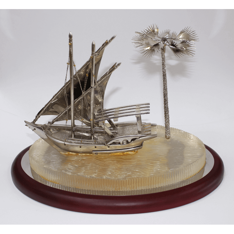 Boat With Palm Tree Silver