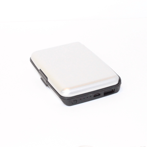 Name Card Holder With Power Bank Silver