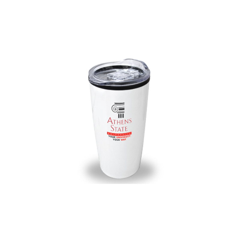 Double Wall Travel Mugs with Clear Lid - White Color