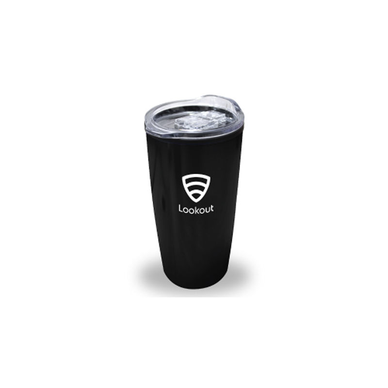 Double Wall Travel Mugs with Clear Lid - Black Color