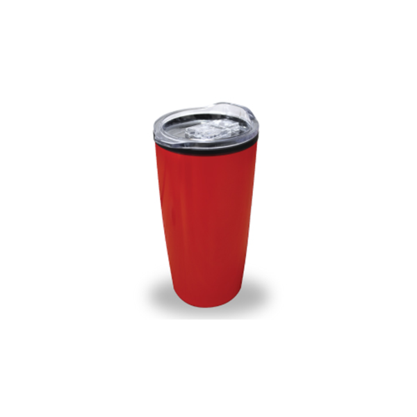 Double Wall Travel Mugs with Clear Lid - Red Color