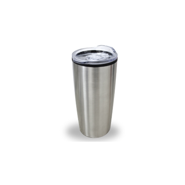 Double Wall Travel Mugs with Clear Lid - Silver Color