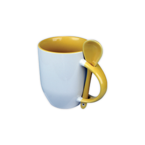 Mugs with spoon - Yellow