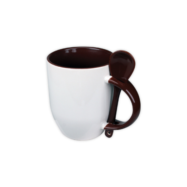 Mugs with spoon - Brown