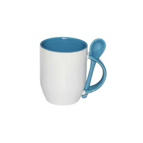 Mugs with spoon - Sky Blue