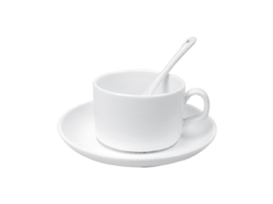 Saucer Tea Cup with Spoon 4 oz