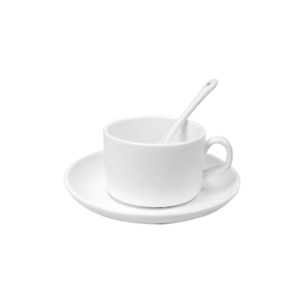 Saucer Tea Cup with Spoon 4 oz