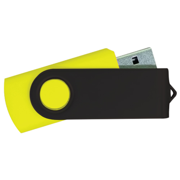 USB Flash Drives - Yellow with Black Swivel
