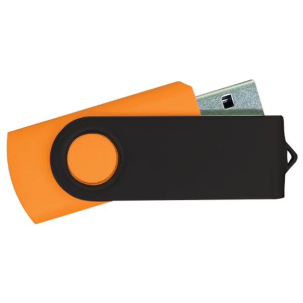 USB Flash Drives - Orange with Black Swivel