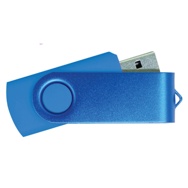 USB Flash Drives - Royal Blue with Blue Swivel