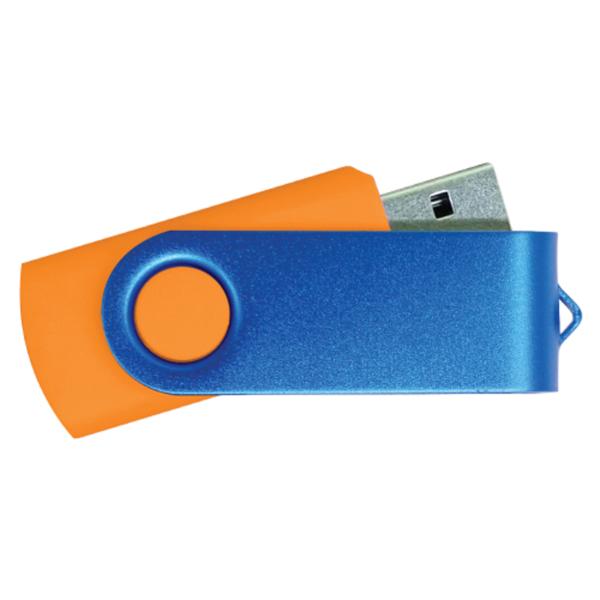 USB Flash Drives - Orange with Blue Swivel