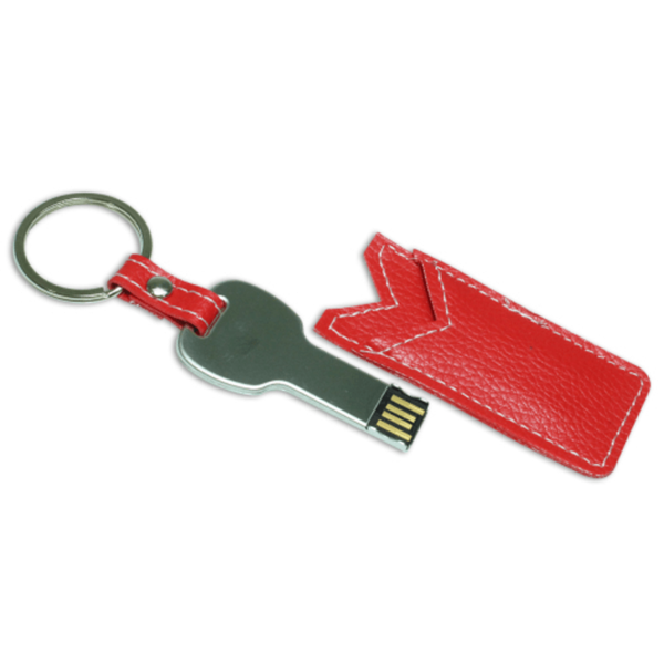 USB Flash Drives Keychain with Red Leather Cover