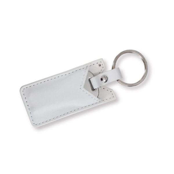 USB Flash Drives Keychain with White Leather Cover