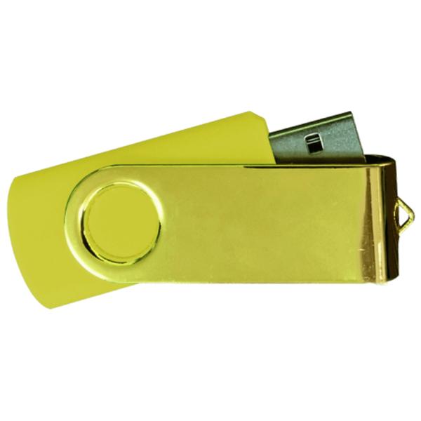 USB Flash Drives Mirror Shiny Gold Swivel - Yellow