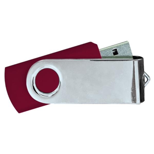 USB Flash Drives Mirror Shiny Silver Swivel - Maroon